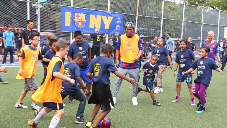 Ronaldinho was present as Barcelona launched plans for further US soccer schools