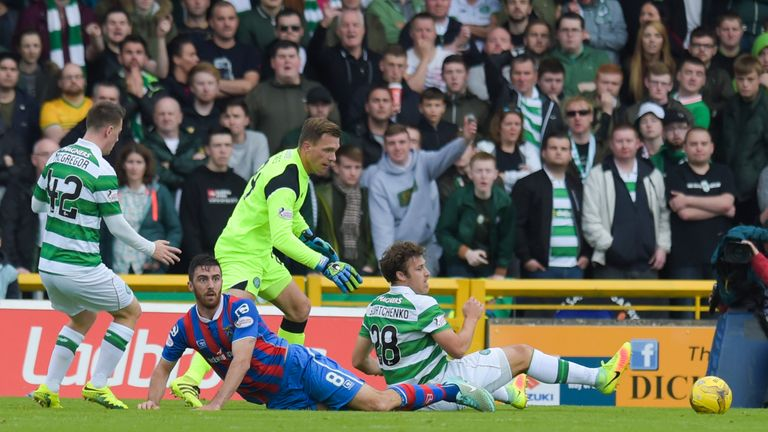 Ross Draper looks to the referee after the incident with Celtic's Erik Sviatchenko