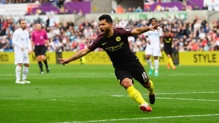 Aguero scored twice on Saturday to keep City at the top of the table