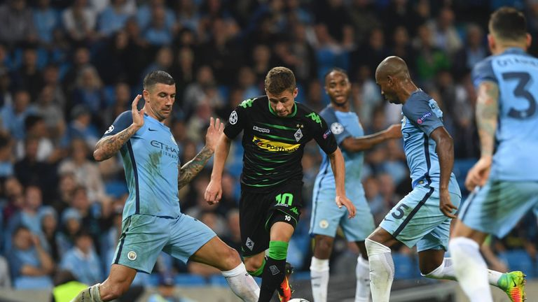 Hazard (centre) has become a key player for Borussia Monchengladbach and featured in the Champions League against Manchester City this season