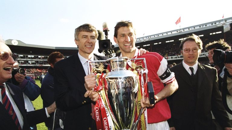 Tony Adams was a central figure in Wenger's first Premier League title win
