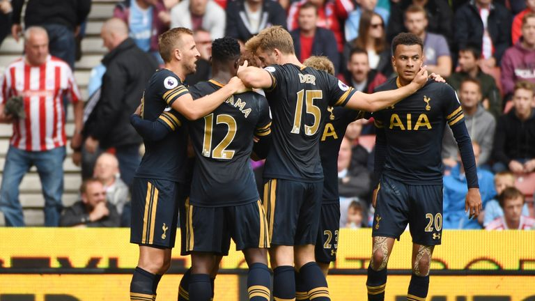 Heung-Min Son of Tottenham Hotspur celebrates scoring his side's first goal