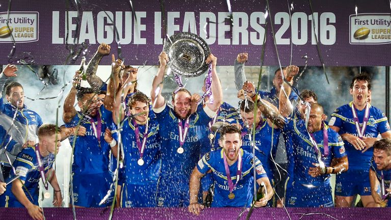Warrington Wolves lift The League Leaders' Shield following the Super 8s match at the KCOM Stadium, Hull