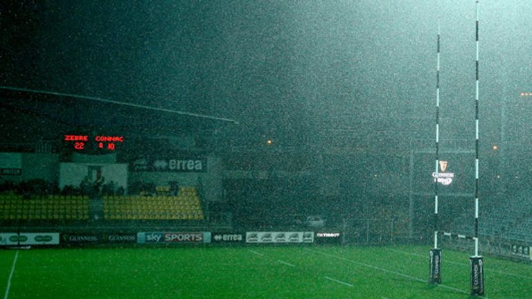 Hail and lightning stops play in Italy