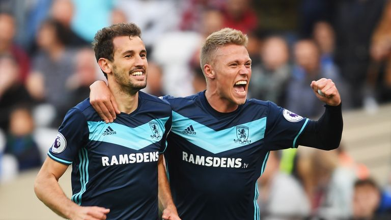 Cristhian Stuani (left) celebrates scoring Middlesbrough's opener with a header confirmed by goal line technology