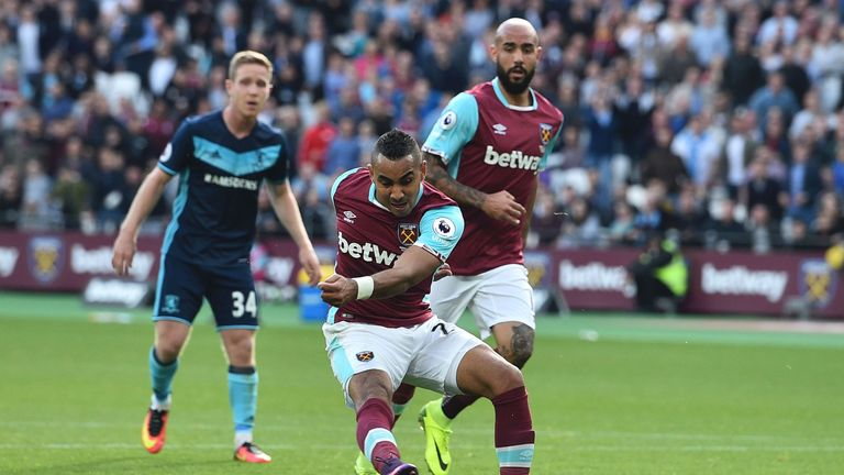 Dimitri Payet scored West Ham's equaliser against Middlesbrough on Saturday at the London Stadium