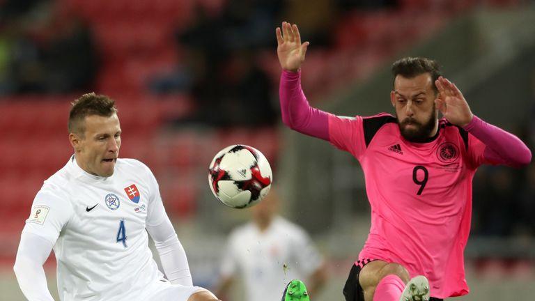 Slovakia's Jan Durica (left) and Scotland's Steven Fletcher (right) battle for the ball