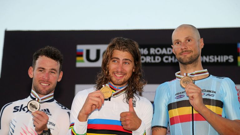 From left, Cavendish, Sagan and Tom Boonen on the podium