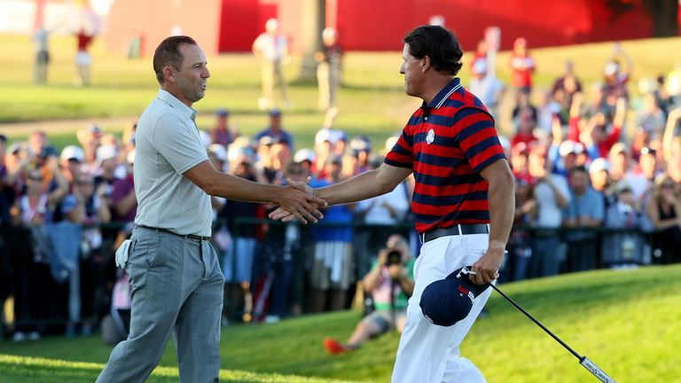 Garcia and Phil Mickelson shake hands after their epic singles match