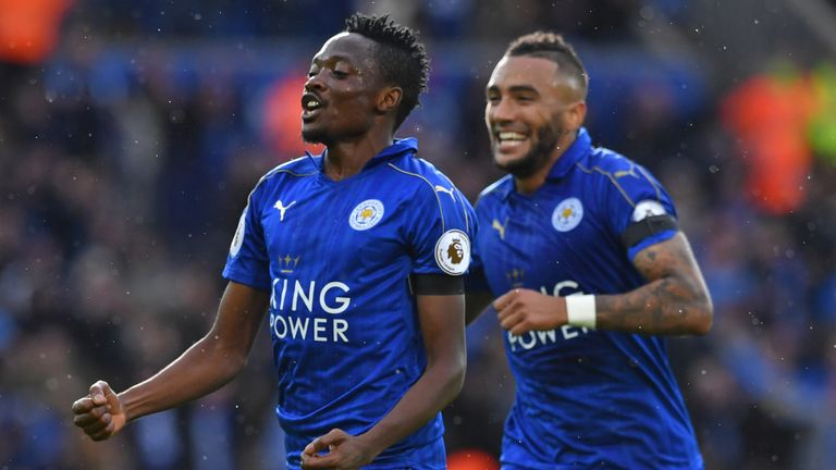 Ahmed Musa (L) celebrates with Danny Simpson