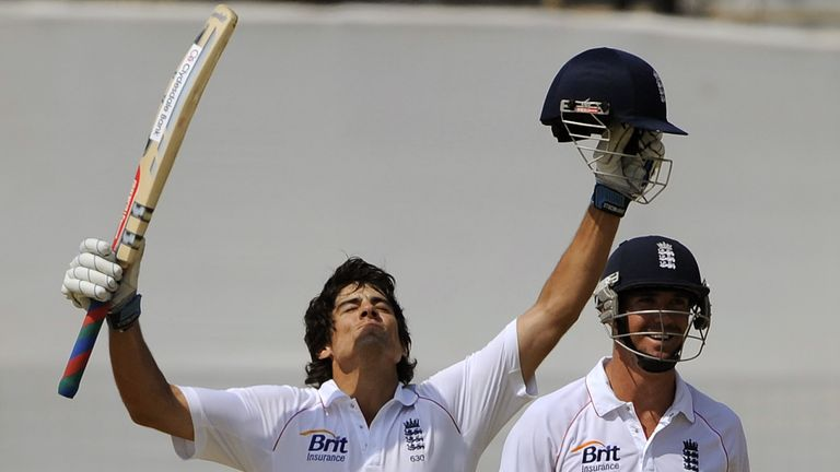 Cook celebrates after scoring a century against Bangladesh during his first Test as captain