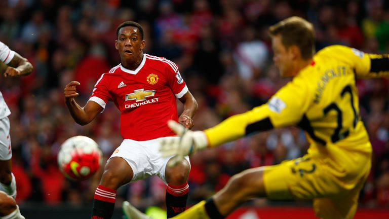 Anthony Martial scored on his United debut against Liverpool