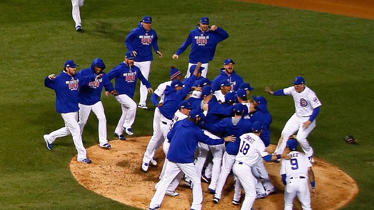 The Chicago Cubs celebrate defeating the Los Angeles Dodgers 5-0 in game six of the National League Championship Series
