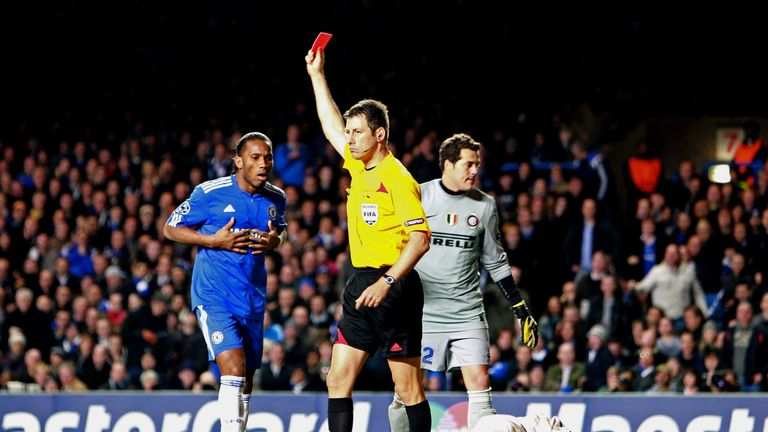 Didier Drogba is sent off by referee Wolfgang Stark at Stamford Bridge