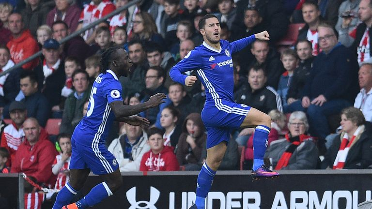 Eden Hazard (R) celebrates scoring the opening goal for Chelsea at Southampton