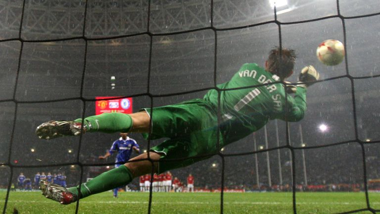 Van der Sar saves from Nicholas Anelka in the 2008 Champions League final