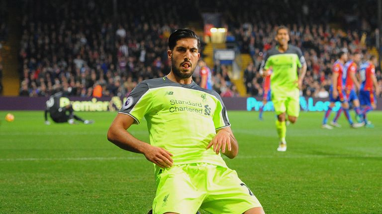 Liverpool's Emre Can celebrates after scoring against Crystal Palace