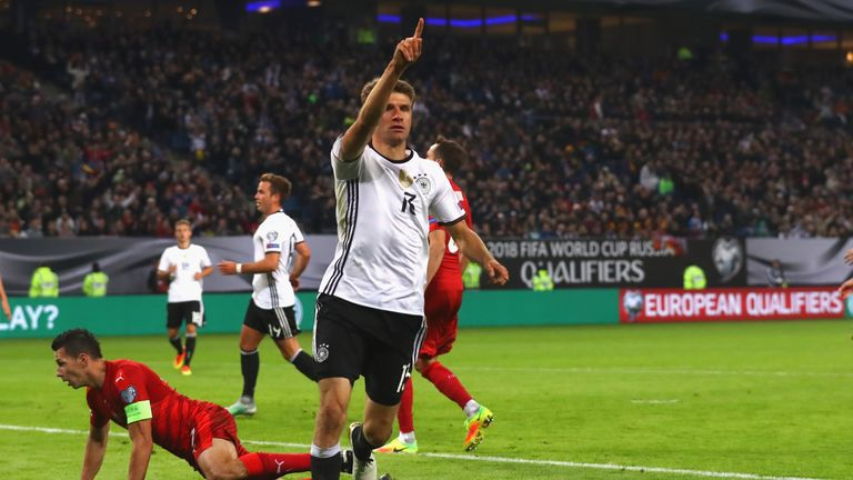 Thomas Muller celebrates after scoring against the Czech Republic