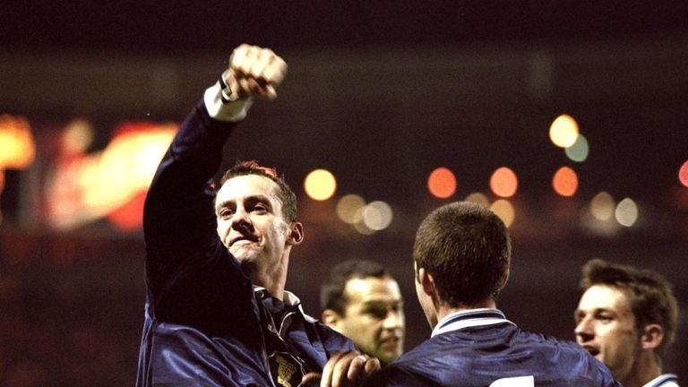 Don Hutchison celebrates his 39th-minute winner for Scotland during the Euro 2000 play-off second leg