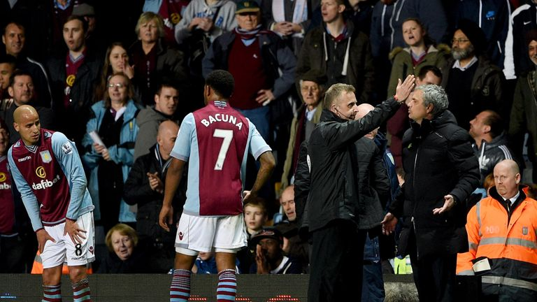 Jose Mourinho is sent off during Chelsea's 1-0 defeat at Villa Park