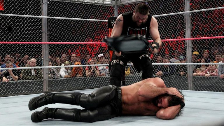 Kevin Owens used a chair to defeat Seth Rollins in Boston