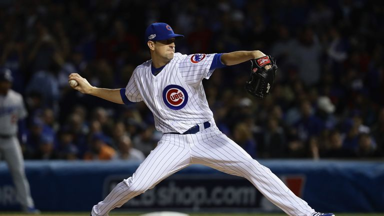 Pitcher Kyle Hendricks starred on the mound for the Cubs