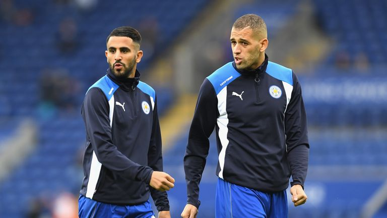 Riyad Mahrez and Islam Slimani of Leicester City