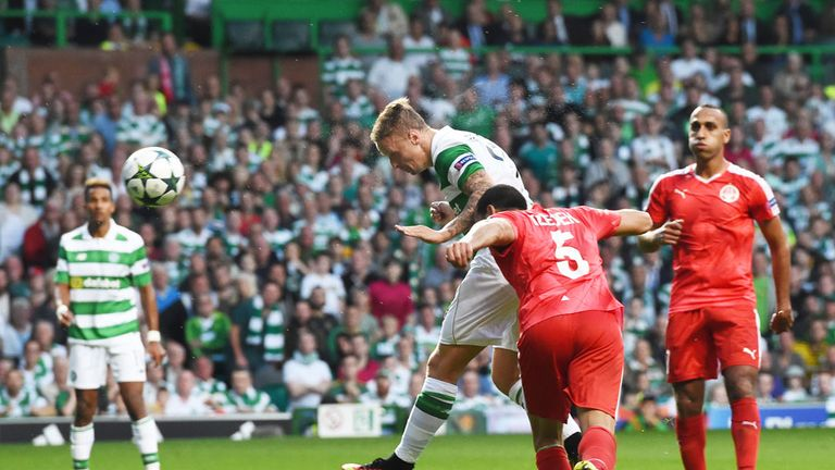 Leigh Griffiths scores his first goal in Celtic's 5-2 win over Hapoel Be'er Sheva