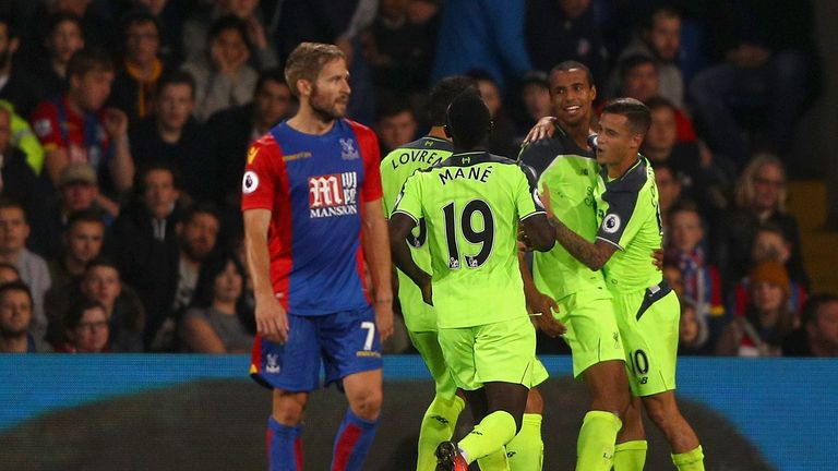 Joel Matip celebrates his first Liverpool goal with his team-mates