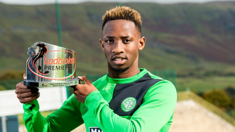 Dembele receives the monthly accolade at Lennoxtown