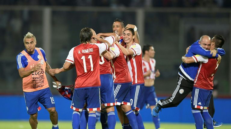 Paraguay celebrate their dramatic win over Argentina