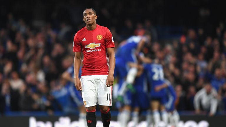Anthony Martial cuts a dejected figure