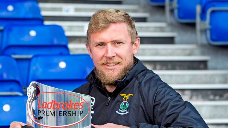 Richie Foran of Inverness CT with his manager of the month award for September