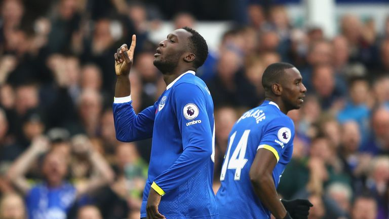 Romelu Lukaku of Everton celebrates after scoring against West Ham