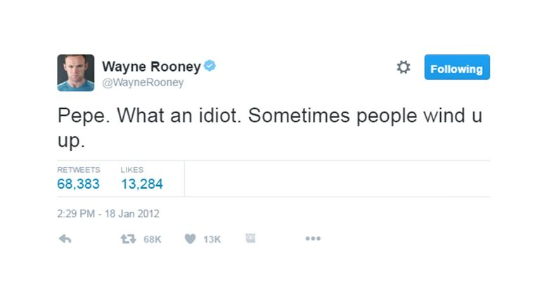 Rooney attacked Real Madrid's Pepe on Twitter for stamping on Lionel Messi's hand during the Clasico in January 2012