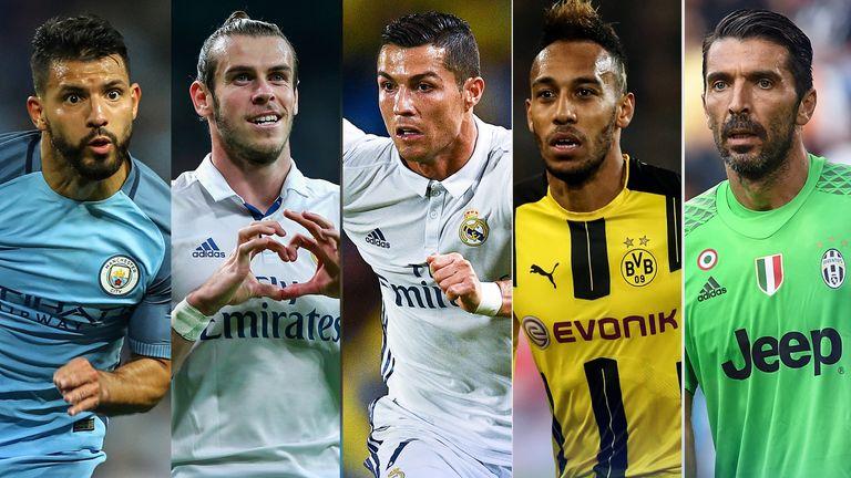 Ballon d'Or nominees Sergio Aguero, Gareth Bale, Cristiano Ronaldo, Pierre-Emerick Aubameyang and Gianluigi Buffon