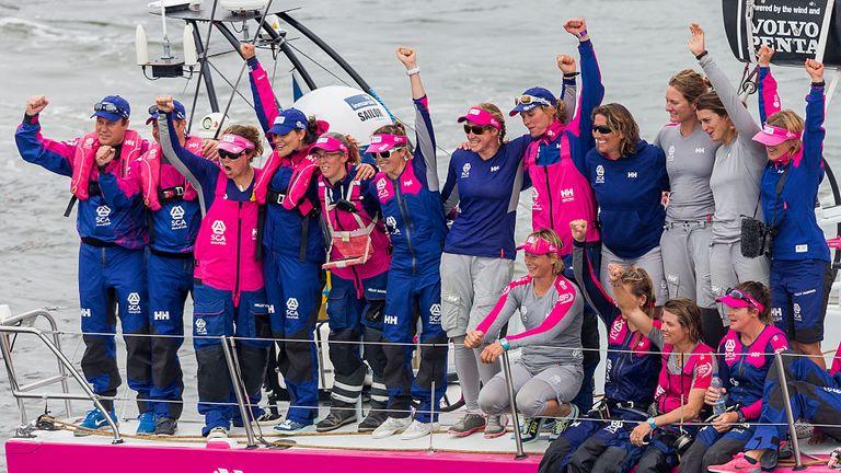 Team SCA celebrate during the Volvo Ocean Race in 2015