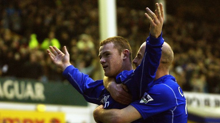 Wayne Rooney celebrates his last-minute winner against Arsenal at Goodison Park in October 2002