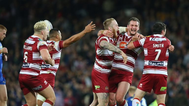 Wigan Warriors celebrate after the final whistle in the 2016 Grand Final