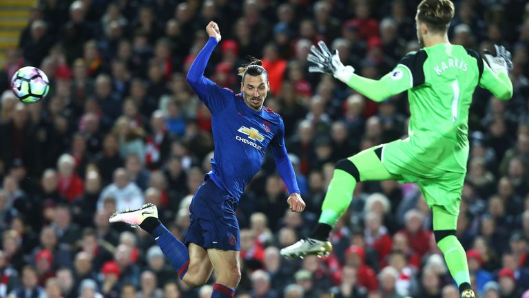 Zlatan Ibrahimovic failed to get his second-half header on target