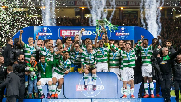 Celtic celebrate winning the Betfred Scottish League Cup final