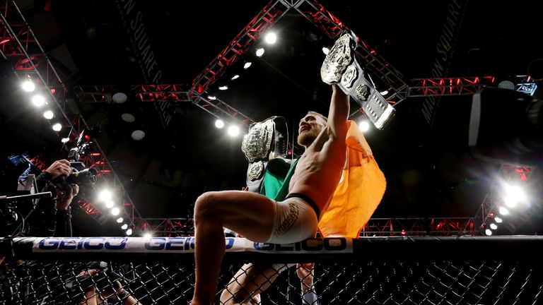 McGregor defeated Eddie Alvarez last November to become the first fighter to simultaneous hold two UFC titles