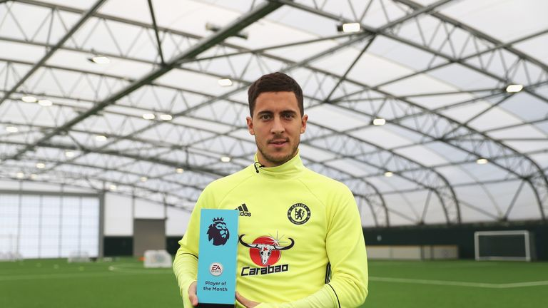 Eden Hazard of Chelsea is awarded the October Player of the Month at the Chelsea Training Ground in Cobham