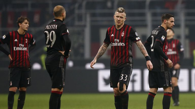 The AC Milan players show their disappointment after their 2-2 draw with Inter Milan