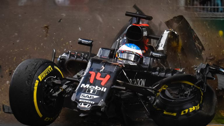 Alonso was unhurt in the crash. The same couldn't be said of his car - Picture from Sutton Images