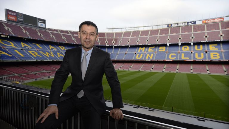 Barcelona president Josep Maria Bartomeu (pictured) says the club will stand by Lionel Messi