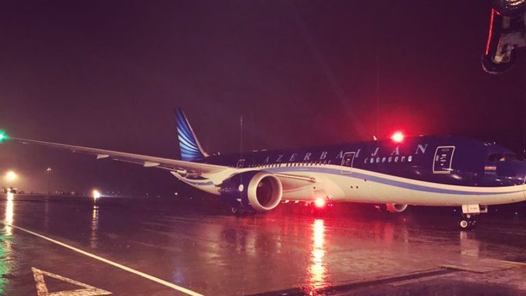 Azerbaijan's Boeing 787 Dreamliner, the first of its kind to land in Northern Ireland