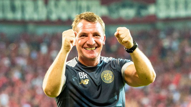 Celtic boss Brendan Rodgers celebrates after the match at Haopel Be'er Sheva