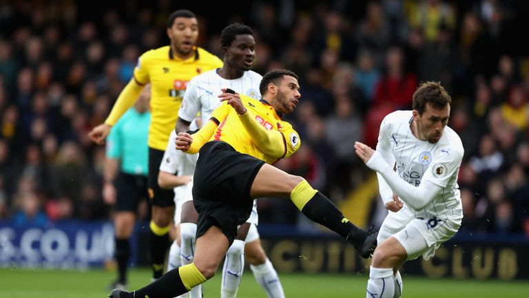Etienne Capoue fires Watford ahead against Leicester
