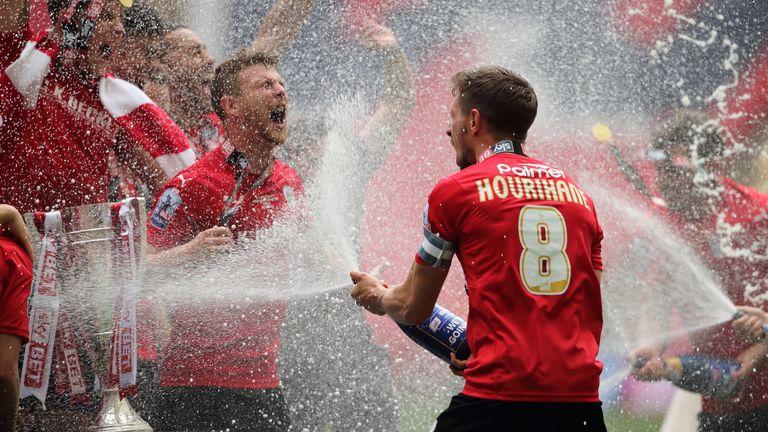 Hourihane celebrates winning last season's Sky Bet League One play-off final
